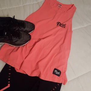 Neon orange PINK muscle tank